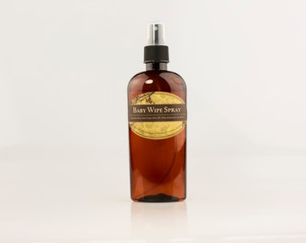 All Natural Baby Wipe Solution Spray; 8 oz spray bottle; made with Aloe vera