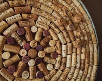 Wine barrel metal ring frame wine cork corkboard 23 inch diameter with 7 wine cork push pins