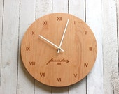 Custom Personalized Wood Wall Clock - Modern Design Name and Date