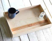 Custom Personalized Wood Serving Tray - Engraved Name and Date