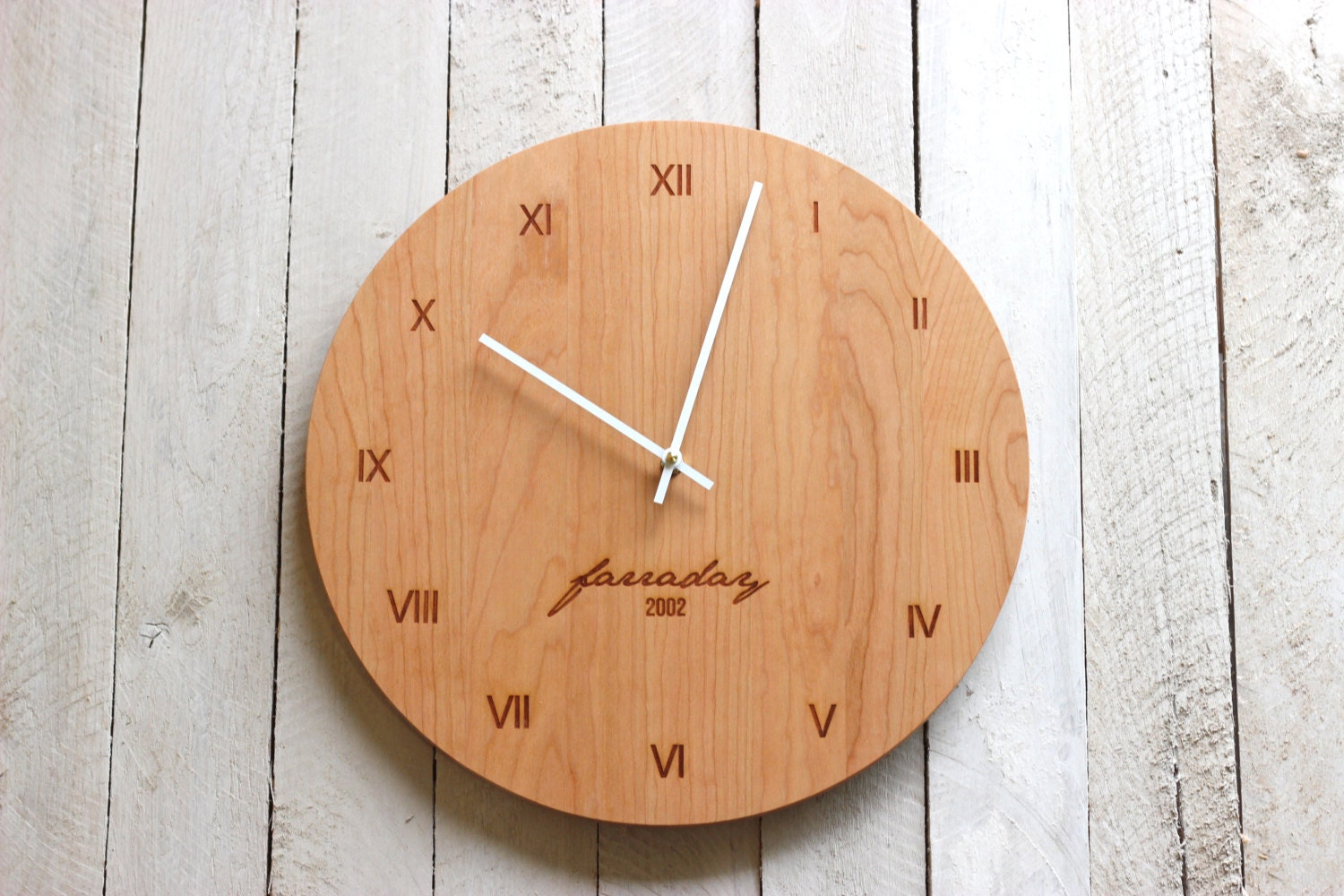 custom personalized wood wall clock modern design name and. Black Bedroom Furniture Sets. Home Design Ideas