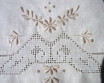 French intricate hand embroidered tray cloth.