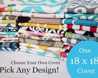 18 x 18 Pillow Cover - One Pillow Cover - Choose Your Own Design - Single Pillow Cover - Sofa Pillow - Decorative Throw Pillow - Pillow Sha
