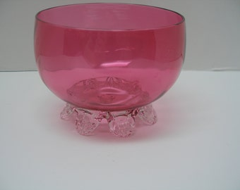 ELEGANT Footed CRANBERRY Blown Glass Bowl with Applied Clear Feet and Berry Artists Mark on Pontil Victorian Style