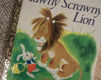 Vintage Childrens Hardcover Book - Tawny Scrawny Lion