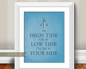 In high tide or in low tide I ll be by your side - Blue Chalkboard background - Instant Download - DIY printable