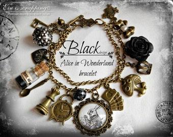 Alice in Wonderland -Running White Rabbit-Jewellery bracelet  handmade Gift-BLACK-eat me drink me mini glass bottle
