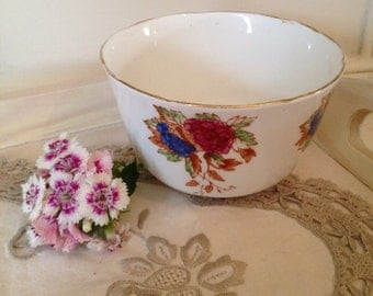 Vintage Balfour Sugar Bowl with blue and burgundy hand painted flowers.