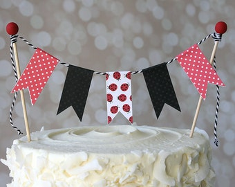 Black & Red Ladybug Birthday Cake Bunting Pennant Flag Cake Topper-MANY Colors to Choose From!  Birthday, Shower Cake Topper