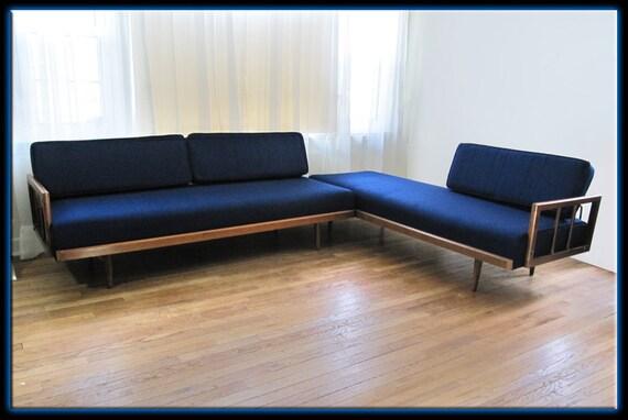 60s Mid Century Danish Modern Blue 2 Piece Sectional Sofa