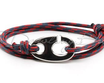 Brummel Hook on Navy Blue Rope Bracelet for Men or Women