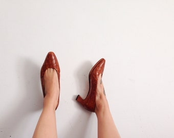 Brown leather Italian chunky heels size 7