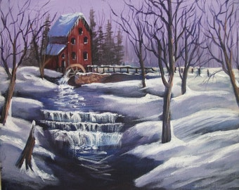 acrylic painting of the mill on a snowy day