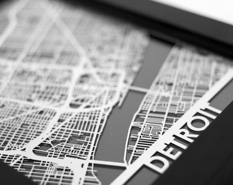 "Detroit Michigan Stainless Steel Laser Cut Map - 5x7"" Framed 