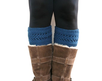 Blue Boot cuffs, leg warmers, boot toppers, boot socks