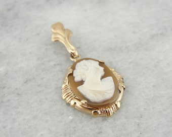 Art Nouveau Cameo Pendant with Fine Natural Carved Shell, 9FA3D0-D