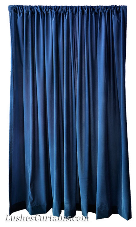 "Navy Blue Flocked Velvet 120"" High Curtains Extra Long Panel Drapes ..."