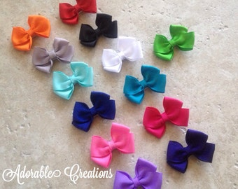Solid Mini Bows pigtail bows tiny hair bows little bow minis