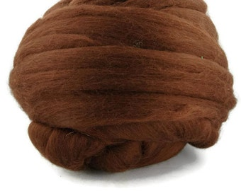 Superfine merino wool roving , Color: Chocolate