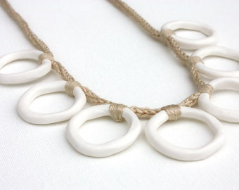 Minimal white sand necklace, polymer clay circles, crochet jewelry