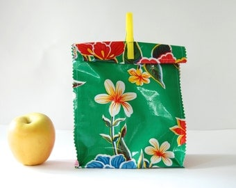 Oil cloth lunch bag in yellow green floral/pink lg. gingham