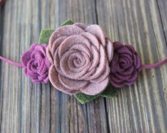 felt flower headband  - newborn/baby/toddler headband - fall headband  - photo prop