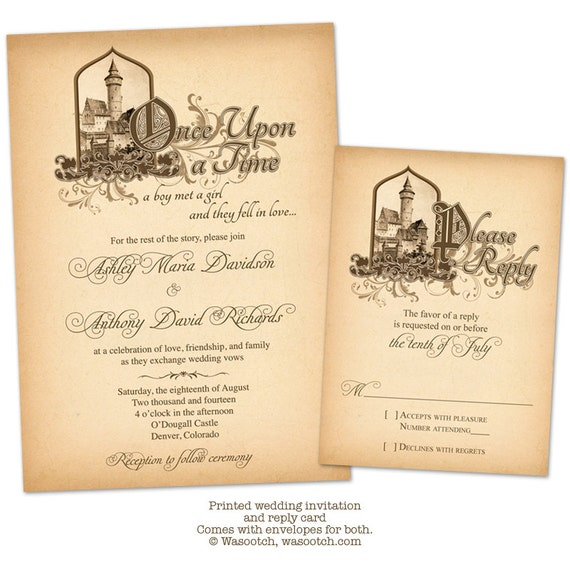 Fairytale Once Upon A Time Medieval Castle Wedding Invitation