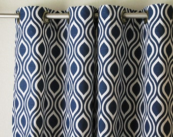 Navy blue curtains | Etsy