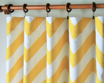 "Pair 50 "" wide corn yellow and white BIG zippy chevron curtain panels drapes curtains zig zag 50x63 50x84 50x96 or 50x108""- can add grommets"