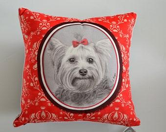 Yorkshire cushion cover- Dog cushion- Yorkie pillow- Yorkshire decor- yorkie gift- dog lover gift