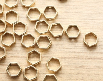 10 pcs of Gold Plated Octagon ring beads - Round - 14 mm