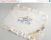 ON SALE Handpainted Art Placemat - Painted Bird Linen Placemat, ready to ship