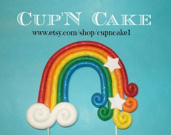 Rainbow fondant cake topper