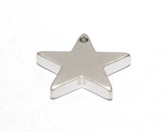 Star pendant, S20-R2, 20 pcs, 13mm, Star charm, Matte rhodium plated brass, GY15-03