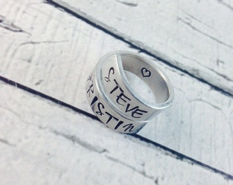 Personalized, hand stamped aluminum wrapped ring