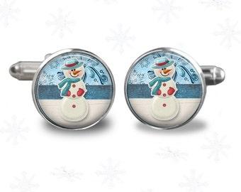 Christmas theme -snowman - mens cuff links- cufflinks- christmas gift