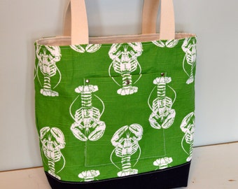 Free US Shipping Reversible Washable Nautical Summer Navy Blue White Ivory Stripe Kelly Lime Green Lobster Purse Beach Tote Bag