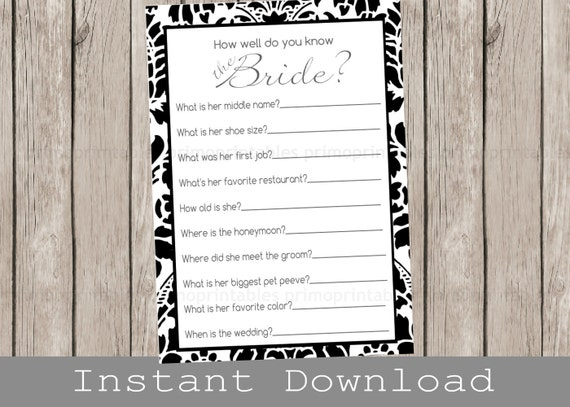 Printable bridal shower game how well do you know the bride black