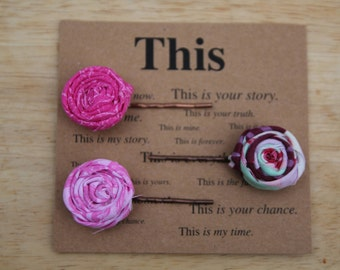Fabric rosette bobby pins set of 3