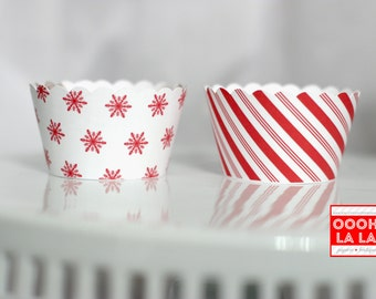 MADE TO ORDER Candy Cane Stripes and Snowflakes Cupcake Wrappers- Set of 12