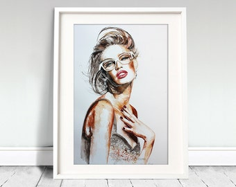 Original Watercolor Print - Flourishing . Beautiful woman face portrait.