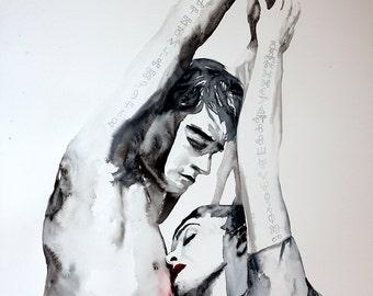 Original Watercolor Painting - Аcceptance. Couple portrait.