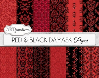 "Boudoir digital papers ""RED & BLACK DAMASK"" elegant, black, red, damask for weddings, scrapbooking, invites, cards, home décor and more"