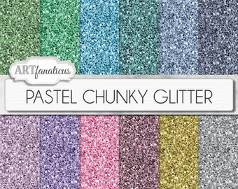 "Chunky glitter papers, ""PASTEL CHUNKY GLITTER"" 12 shimmering colored glitter papers, chunky glitter digital papers in pastel colors"