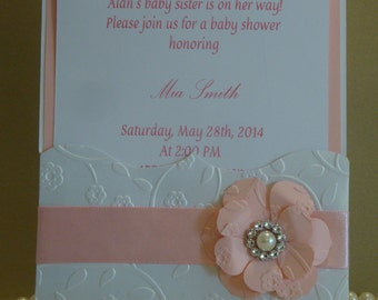 Babyshower invitation- embossed invitation, handmade Quinceanera,sweet sixteen