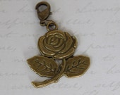 Antique Gold Rose Dangle Charm & Lobster Clasp for Floating Glass Living Memory Owl Lockets