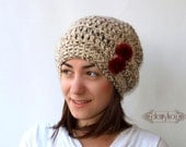 Woman hat Slouchy Beanie, Slouchy Hat Hand Crocheted Hat camel white with wine red pom pon