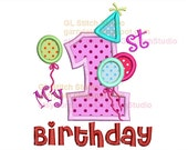 My first birthday embroidery applique design, 1st machine digital party file, balloon holiday digitized, birth-003-1