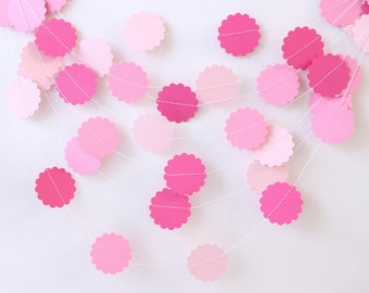 Wedding Garland, Valentine Garland, Pink Paper Garland 10 ft, Bridal Shower, Baby Girl Shower, Romantic Wedding, Birthday Party, Pink Party