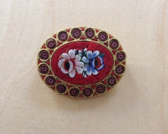 50s glass mosaic brooch